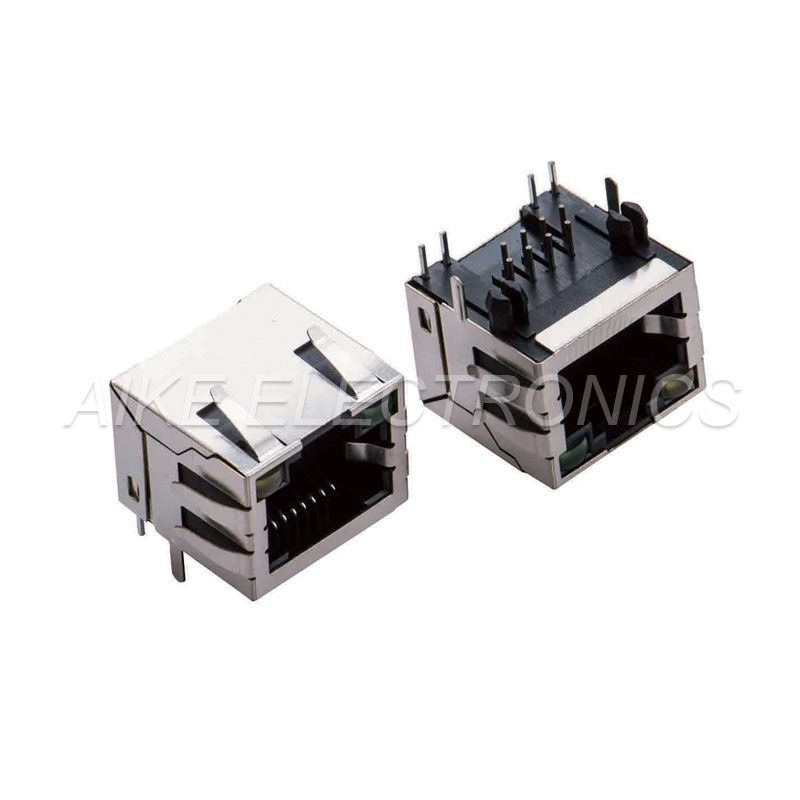 RJ45 female 8P8C,Tab up, DIP TYPE With Though holes shell and Plastic position post